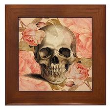 Vintage Rosa Skull Collage Framed Tile
