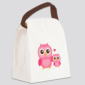 Mommy and Me, Cute Baby Owl, Pink Canvas Lunch Bag