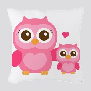 Mommy and Me, Cute Baby Owl, Pink Woven Throw Pill