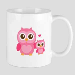 Mommy and Me, Cute Baby Owl, Pink Mugs