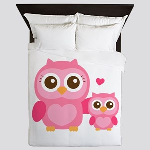 Mommy and Me, Cute Baby Owl, Pink Queen Duvet