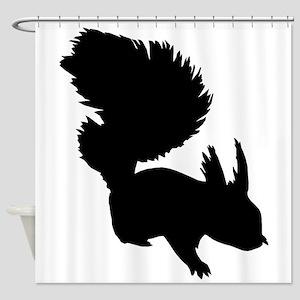 Squirrel Silhouette Shower Curtain