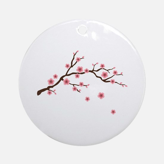Cherry Blossom Flowers Branch Ornament (Round)