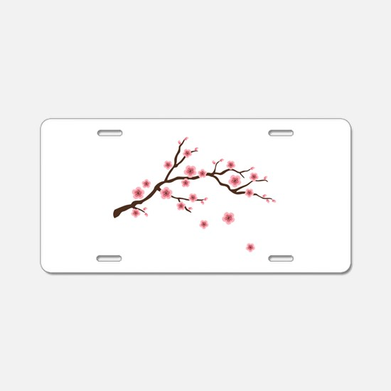 Cherry Blossom Flowers Branch Aluminum License Pla