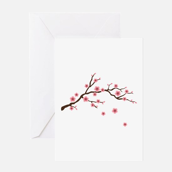 Cherry Blossom Flowers Branch Greeting Cards