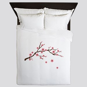 Cherry Blossom Flowers Branch Queen Duvet