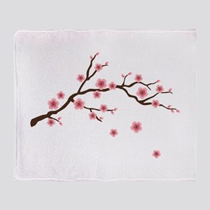 Cherry Blossom Flowers Branch Throw Blanket