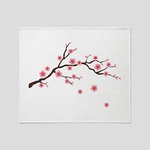 Cherry Blossom Flowers Branch Throw Blanket