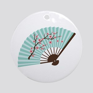 Oriental Paper Cherry Blossom Fan Ornament (Round)