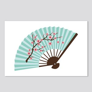 Oriental Paper Cherry Blossom Fan Postcards (Packa