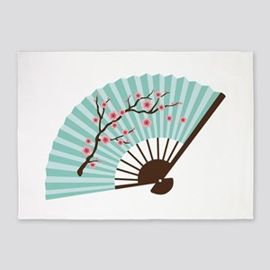 Oriental Paper Cherry Blossom Fan 5'x7'Area Rug