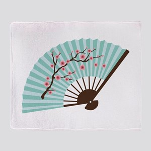Oriental Paper Cherry Blossom Fan Throw Blanket