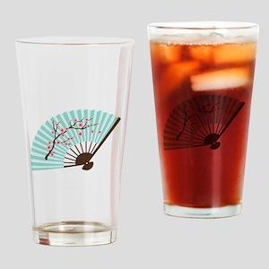 Oriental Paper Cherry Blossom Fan Drinking Glass