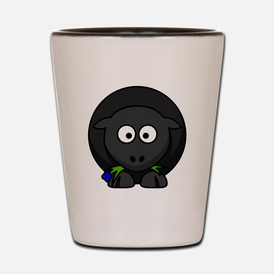 Cartoon Black Sheep Shot Glass