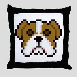 Pixel Bulldog Throw Pillow