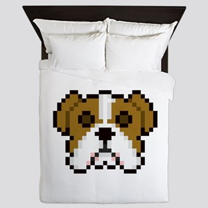 Pixel Bulldog Queen Duvet