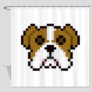 Pixel Bulldog Shower Curtain