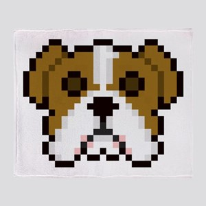 Pixel Bulldog Throw Blanket