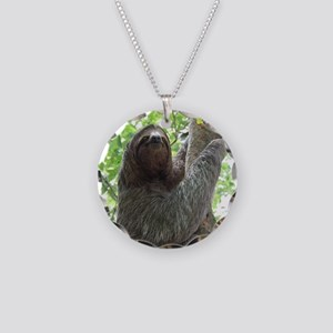 Sloth in a Tree Necklace Circle Charm