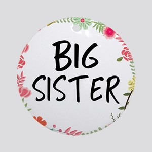 Big Sister Floral Round Ornament