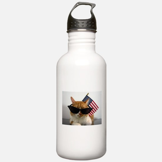 Cool Cat with American Flag Water Bottle