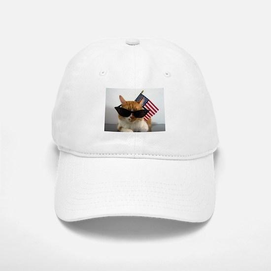 Cool Cat with American Flag Baseball Baseball Baseball Cap