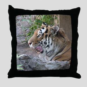Tiger Licking His Chops Throw Pillow
