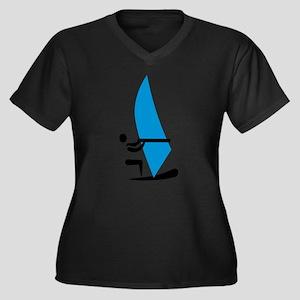 Windsurfing Women's Plus Size V-Neck Dark T-Shirt