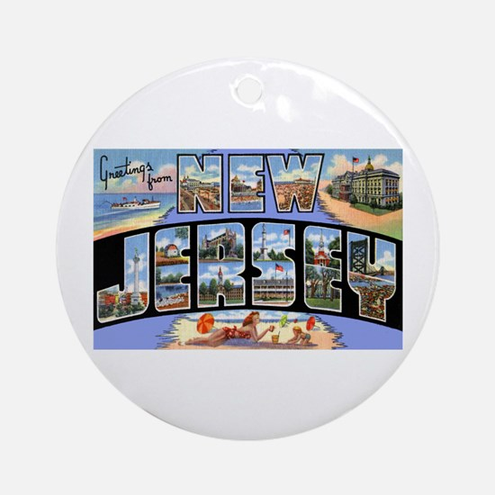 New Jersey Greetings Ornament (Round)