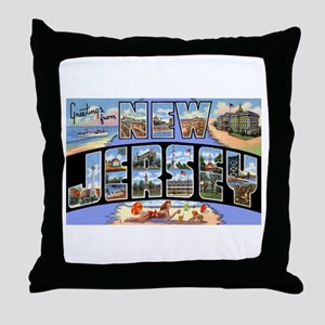 New Jersey Greetings Throw Pillow