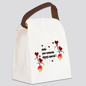 Make your someone special - Heart Canvas Lunch Bag