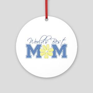 Best Mom Blue Ornament (Round)