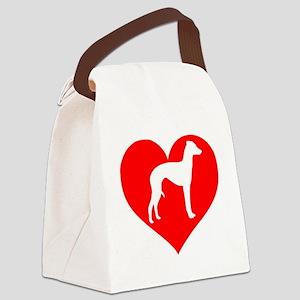 Love Italian Greyhounds Heart Canvas Lunch Bag