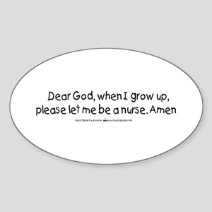 Student Nurse Prayer Oval Sticker