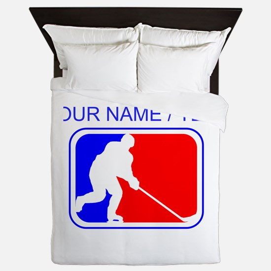 Custom Hockey League Logo Queen Duvet