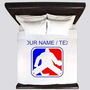 Custom Hockey Goalie League Logo King Duvet