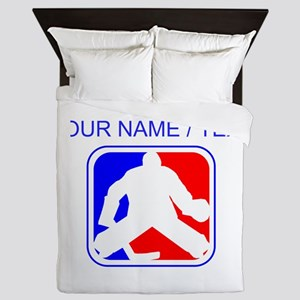 Custom Hockey Goalie League Logo Queen Duvet