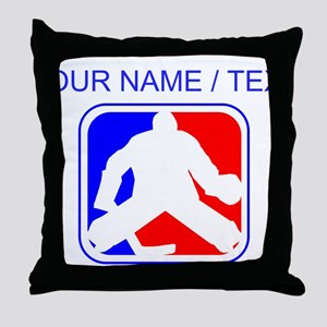 Custom Hockey Goalie League Logo Throw Pillow