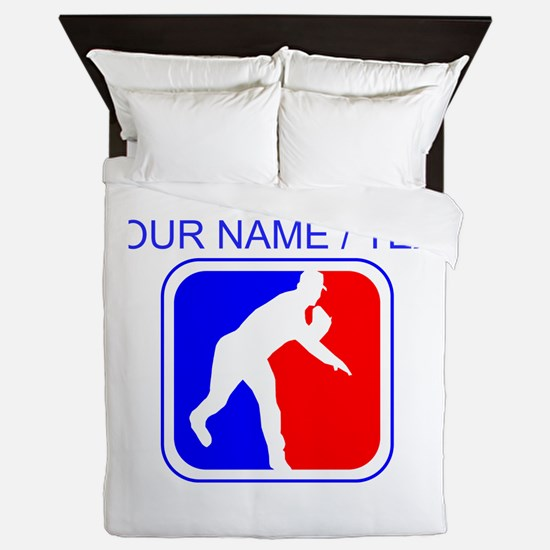 Custom Baseball League Logo Queen Duvet