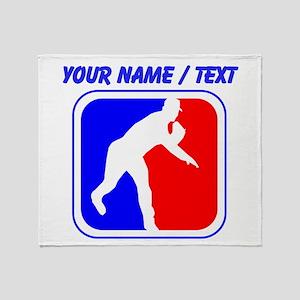 Custom Baseball League Logo Throw Blanket