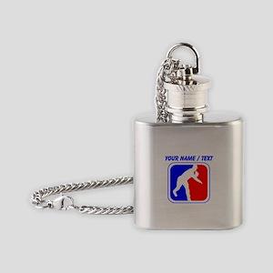 Custom Baseball League Logo Flask Necklace