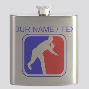 Custom Baseball League Logo Flask