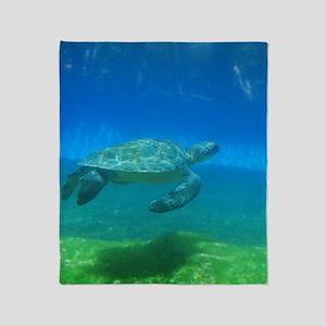 Swimming Sea Turtle Throw Blanket