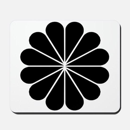 Big Black Digital Flower Mousepad