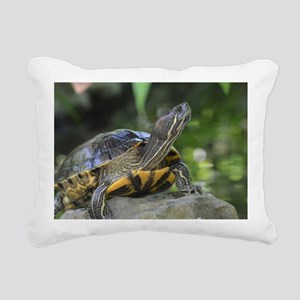 Turtle on a Rock Rectangular Canvas Pillow