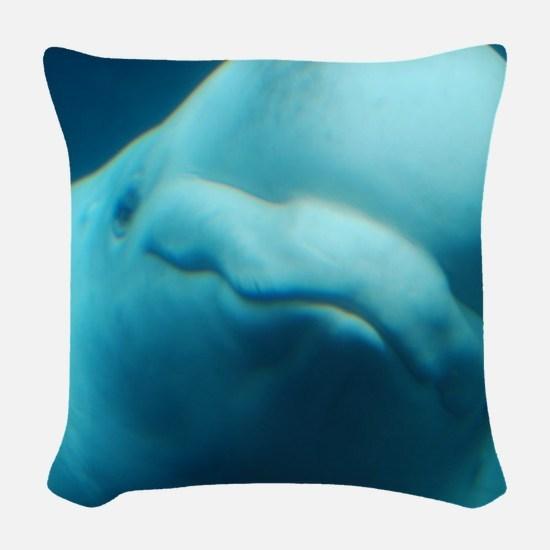 Cute Beluga Whale Woven Throw Pillow