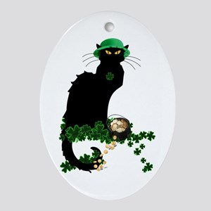 Le Chat Noir, St Patricks Day Ornament (Oval)