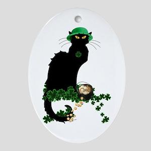 Le Chat Noir, St Patricks Day Ornament (Oval)