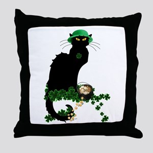 Le Chat Noir, St Patricks Day Throw Pillow