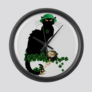 Le Chat Noir, St Patricks Day Large Wall Clock